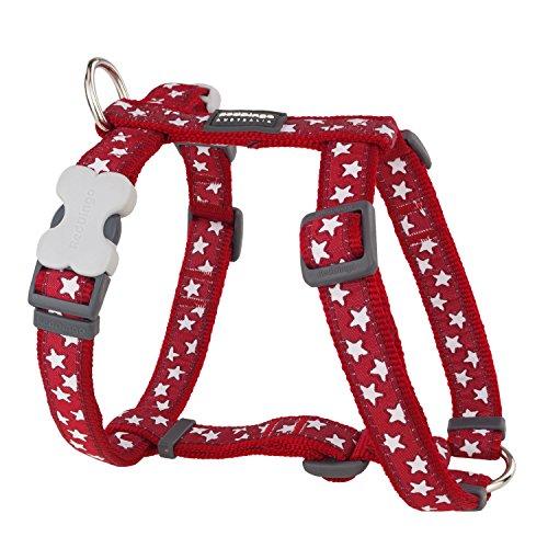 Red Dingo Designer Hundegeschirr, weiße Sterne auf Rot, 12mm x Halsumfang: 25-39cm / Körper 30-44cm Größe XS