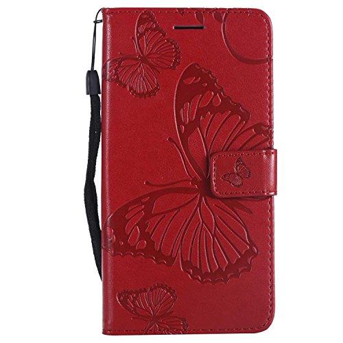 DENDICO Cover LG V30, Pelle Portafoglio Custodia per LG V30 Custodia a Libro con Funzione di appoggio e Porta Carte di cRossoito - Rosso