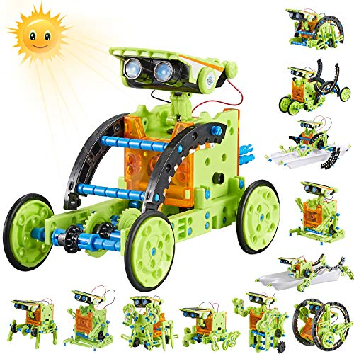 HISTOYE 12-in-1 Stem Solar Robot Building Kit for Kids 6-12 Engineering Science Kits for Boys 8-12 Solar Powered Engine Robotics for Kids 8 and up Science Experiments Toys for 10 11 12 13 Years Old