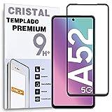 REY Protector de Pantalla Curvo para Samsung Galaxy A52 5G - 4G, Negro, Cristal Vidrio Templado Premium, 3D / 4D / 5D, Anti Roturas