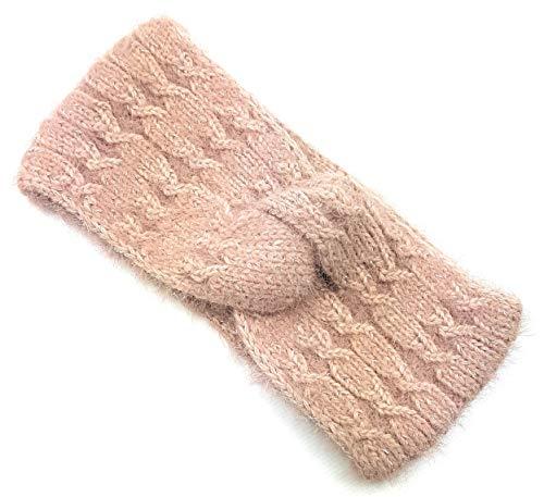 Stirnband Damen Mädchen Winter warm Strick Haarband Grobstrick Zopfmuster elastisch Lurex Glitzer...