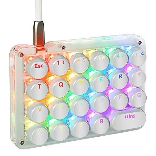 Koolertron Einhand Mini Tastatur, Mechanische Gaming Tastatur Blaue switches mit 23 Voll Programmierbaren Tasten, Gaming Tastatur RGB Beleuchtung für Windows Mac Schreibkraft PC Gamer