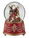 Roman Santa with Snowflakes Musical We Wish You a Merry Christmas 100mm Snow Globe (5.5' 100mm)