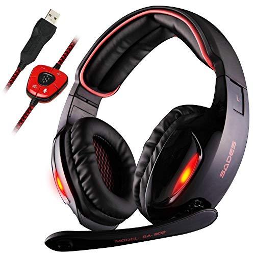 Sades SA902 Dolby Stereo Surround 7.1 USB Cuffia Gaming con Microfono da Gioco Gamer LED Luce Regolatore di Volume per PC Mac Laptop Computer(Rosso)