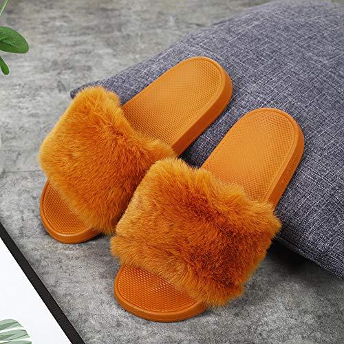 N/A Chanclas Reef para Mujer, Pantuflas de Lana de una Palabra para Interiores de Ocio, Zapatos de Lana cálidos para Mujer, tamaño Camel_Female 36/37