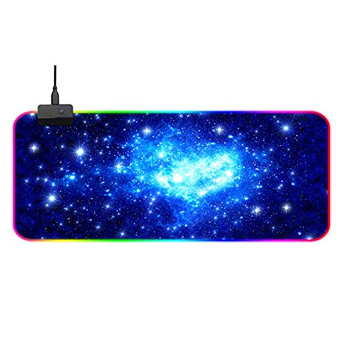 OTentW Gaming Mouse Mat RGB Luminous Office Desk Mat Waterproof Computer Mouse Mat with Anti-Slip Rubber Base for Laptop, Computer & PC