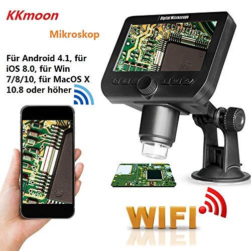 KKmoon Mikroskop 1000x 2.0MP mit Wireless Funktion 4,3 Zoll Display mit 8 einstellbaren Helligkeits LED Leuchten Saugnapf Basis