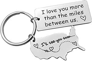 Long Distance Relationship Gift Keychain I Love You More Than The Miles Between Us Keychain Going Away Gift Girlfriend Boyfriend Gifts Personalized Couples Jewelry Trucker Husband Dad Gifts