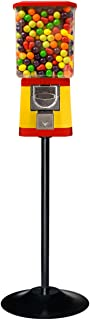 Gumball Vending Machine - Bouncy Ball Vending Machine - Capsule Vending Machine - Yellow Body & Red Trim with Stand (Single Stand)