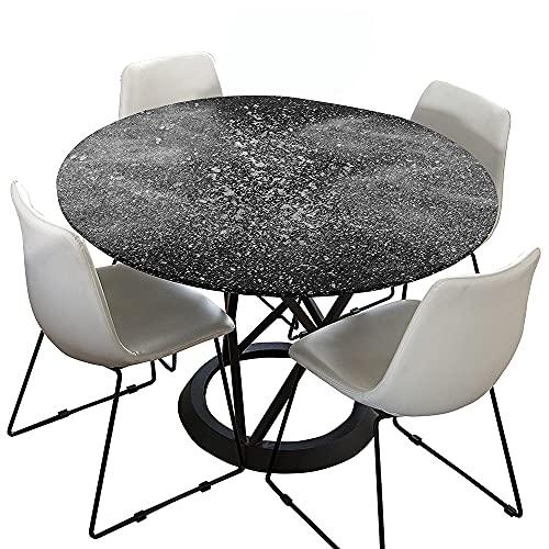Morbuy Rund Tischdecke Elastisch, Einfach Rund Tischdecken Wasserdicht Lotuseffekt Abwaschbar Abwischbar Tischtuch für Dekoration Küchentisch Garten Outdoor (Dunkelgrau,Durchmesser 100cm)