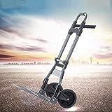 Carrello elevatore portatile pieghevole per impieghi gravosi con maniglia girevole a 180 °, carrello pieghevole pieghevole per riporre il bagaglio, carrello a mano e carrello fino a 220 lb Capacità co