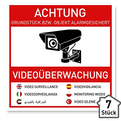 7 x Aufkleber Videoüberwachung (10 x 10 cm) - Schild - Hinweisschild - Warnschild - Achtung Videoüberwachung - Warnhinweis - Videoüberwachung Aufkleber Mehrsprachig (10x10cm) - V2