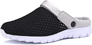 Xujw-shoes, for Men Outdoor Sandals Mens Holes Slippers Summer Beach Shoes Back Strap Closed Toe Breathable Mesh Upper Anti-Slip Flat Round Backless Lightweight