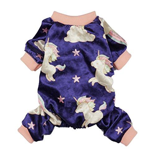 Fitwarm Fairy Unicorn Dog Pajamas Pet Clothes Jumpsuit PJS Apparel Soft Velvet Purple Large