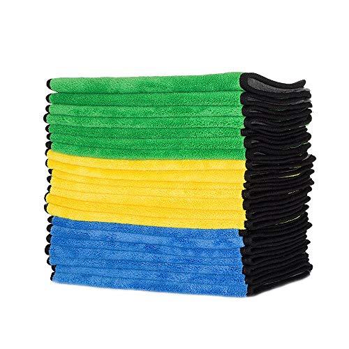FMS Profiqualität 840gsm mikrofaser Reinigungstücher extrem saugstark und fusselfrei mit Seidenband Eingefasst Auto Trockentuch - 21Pack