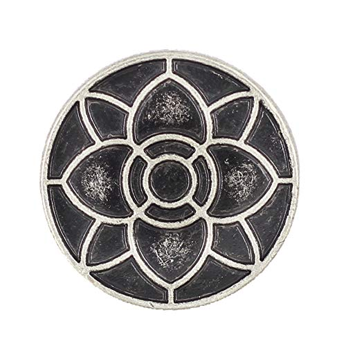 Bezelry 12 Pieces Lotus Blossom Metal Shank Buttons. 20mm (3/4 inch) (Antique Silver)