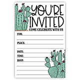 Cactus Invitations (20 Count) with Envelopes - Cacti Desert Theme Baby Shower or Birthday Party Invites