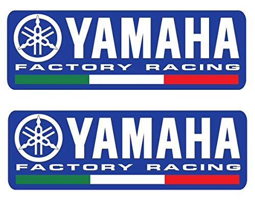 2 x Yamaha Factory Racing Team blau mit italienischer Flagge M1 R1 R6 R3 R125 130 x 43 mm