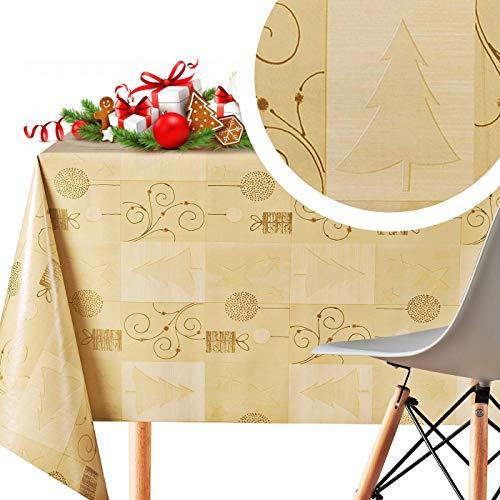 KP Home Mantel Rectangular Navidad Mantel Hule Creme y Dorado de PVC Fácil de Limpiar - 200 x 140 cm - Mantel...