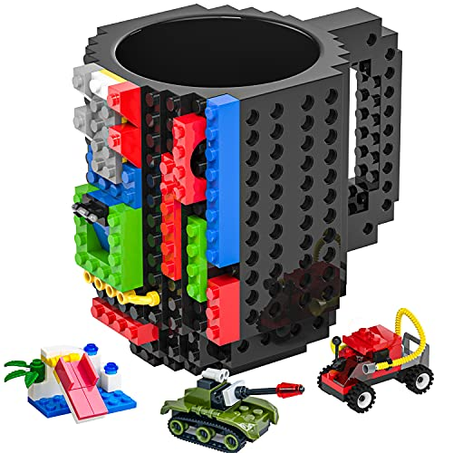 DAYMOO Build-On Brick Mug,Funny Coffee Mug Compatible with Lego,with 3 Packs of Blocks at Random,Building Blocks Cup for Kids,Unique Gifts Idea for Christmas(Black)