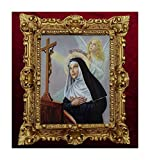 Lnxp Cuadro con marco de Madonna Santa Rita da Cascia icono antiguo barroco 45 x 38 cm