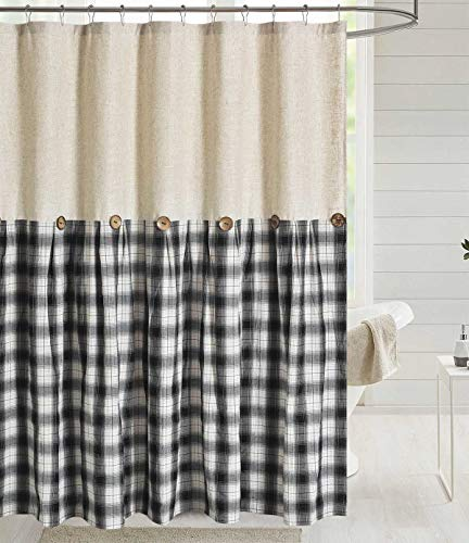 DOSLY IDÉES Linen Button Shower Curtain,Linen and Cotton Fabric,Pleated Black and White Check,Country Farmhouse Style,72x72 in