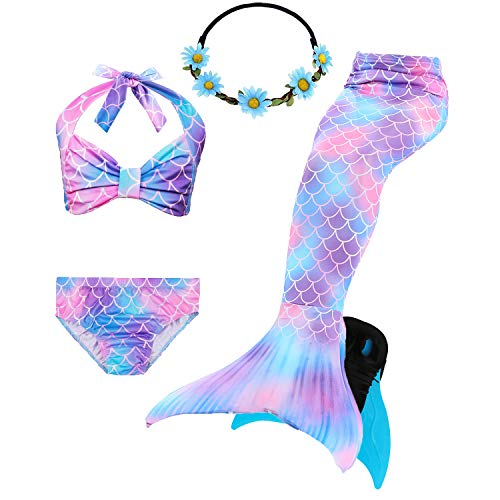 COZY HUT 2019 Mädchen Meerjungfrau Schwanz Badeanzug - Prinzessin Cosplay Bademode für das Schwimmen mit Bikini Set und Monoflosse, 5 Stück Set (3-12 Jahre)