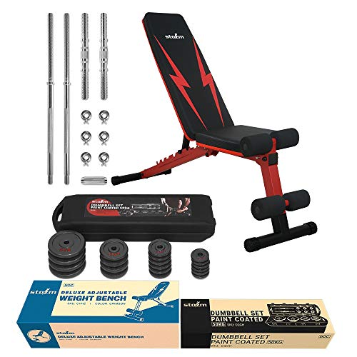 STOZM Multi-Purpose Deluxe Adjustable Strength Training Weight Bench (Crimson) and Adjustable Dumbbell Set with Case – 50 kgs /110 lbs for Full Body Workout (Black) (XHCE)