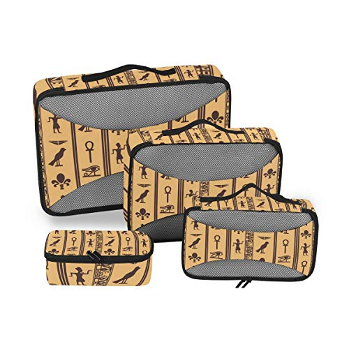 CPYang Tribal Egipto Hieroglyphics - Juego de 4 Cubos de Embalaje de Maletas de Malla organizadores de Viaje para Maleta
