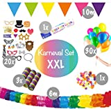 L+H Karneval Dekoration Party Set XXL Party | über 55 Teile in Premium Qualität | Fotorequisiten Girlanden Tischkonfetti Partykanone Luftschlangen Luftballons | Kinder Geburtstag Deko Fasching