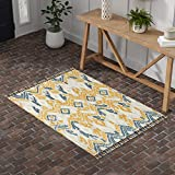 Amazon Brand – Stone & Beam Modern Global Ikat Wool Area Rug, 5 x 8 Foot, Blue