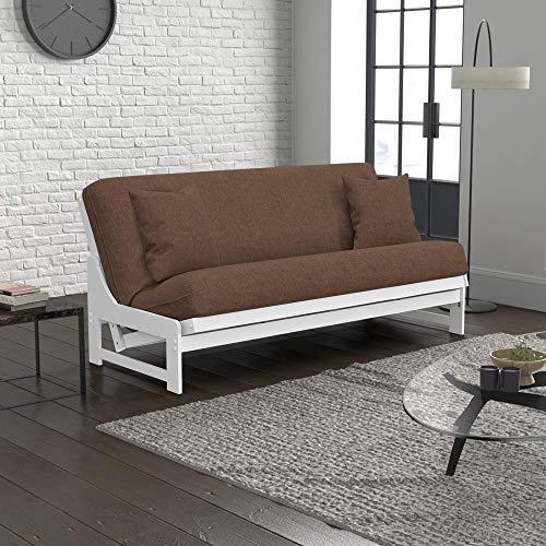 Nico Urban Loft Linen Series Convertible Sleeper Sofa Collection by Nirvana Futons - Queen Size White Armless Arden Futon Frame, Pillows, Mattress and Umax Pecan Futon Cover Set