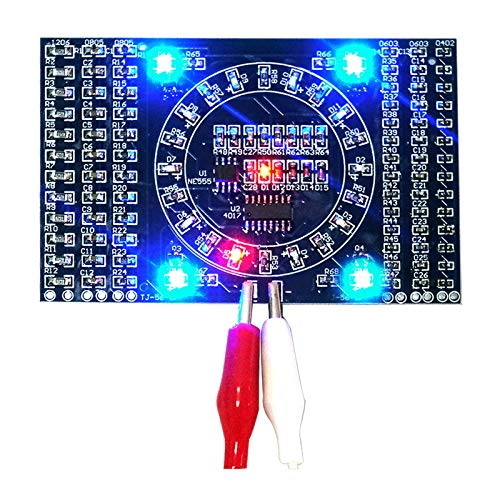 WHDTS SMD LED Components Soldering Kit Practice 1.6mm PCB Board Electric Rotating Water Lamp LED DIY Kit Learning Training Suite (Blue)