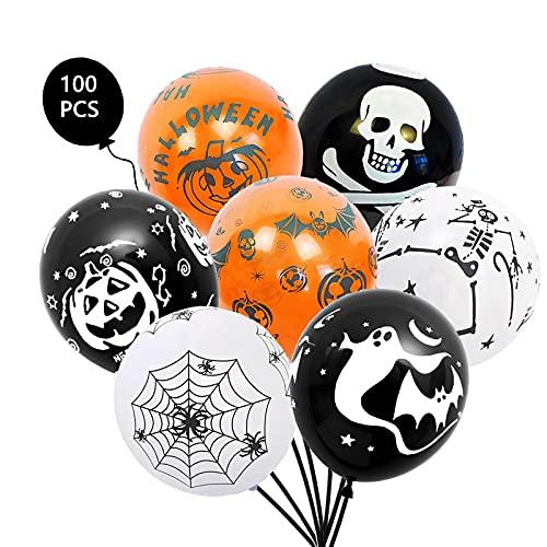 Kit di Palloncini di Halloween, Decorazione Halloween Palloncini, 100 Palloncini Lattice Festa Halloween, Bambini Addobbi Festa Decorazione di Halloween di Fantasmi di Zucca.