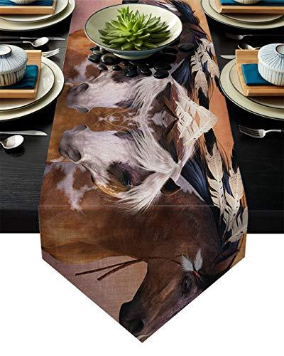 Abows-Shop Chemin de Table Esprit Indiens Cheval de Guerre Impression chemins de Table Morden élégant Mariage fête Vacances Table réglage décor 13 x 90 Pouces