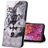 MRSTER LG K40s Handytasche, Leder Schutzhülle Brieftasche Hülle Flip Hülle 3D Muster Cover mit Kartenfach Magnet Tasche Handyhüllen für LG K40s. BX 3D Husky