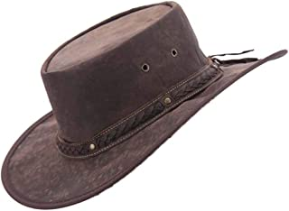 Real Australian Leather Hat Original Hat-in-a-Bag Direct from Australia Brown