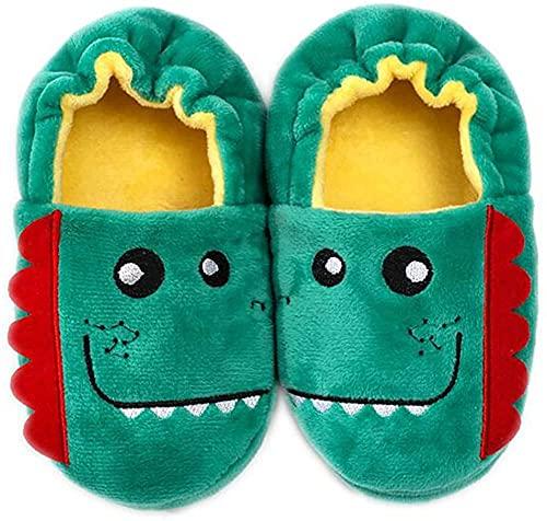 Invierno Zapatillas de casa para Niñas Niños Zapatillas Antideslizantes Animales Pantuflas Cálido Suave Felpa Cómodo Zapatos,25/27 EU=CN 9/10,Dinosaurio