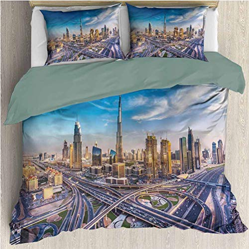 SEMZUXCVO Bedding Set Full All Season Quilt Set City Panoramic Dubai Traffic with Zipper Closure Ultra (King)