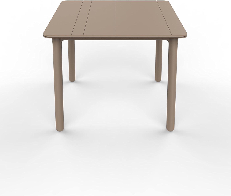 RESOL Noa Mesa de Comedor de Jardín 90x90 Cuadrada   4 Personas   Elegante y Robusta   Protección UV para Uso Exterior en Patio, Terraza o Porche - Color Marrón Claro Arena