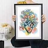 Lámina para enmarcar 'CORAZÓN FLORECIENDO'. Poster con imagen de Corazón . Poster estilo nórdico. Lámina impresa en papel 250 gramos alta calidad y tintas resistentes. Tamaño A3. Producto de diseño.