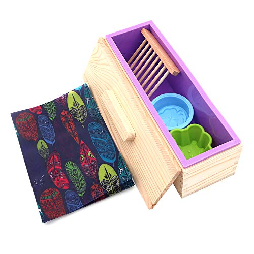 POFET Juego de herramientas de jabón para hacer moldes de silicona, molde rectangular de silicona,caja de madera,papel de aceite,soporte de jabón,diseño de flores de oso y trébol de cuatro hojas