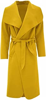 Women Ladies Italian Long Duster Waterfall French Belted Jacket Trench Coat (SM to ML)