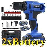 Cordless Drill Impact Driver 45Nm, 21V 2x1.5Ah Li-Ion Batteries Electric Bolt Screwdriver,Drill Driver