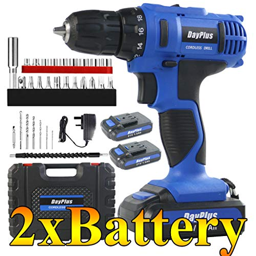 Cordless Drill Impact Driver 45Nm, 21V 2x1.5Ah Li-Ion Batteries Electric Bolt Screwdriver,Drill Driver, Fast Charger, 2900RPM Max Speed, 2 Speed, Forward and Reverse Setting, LED Light