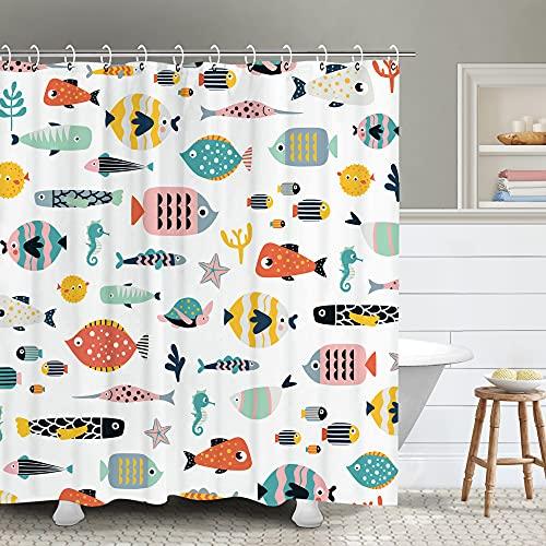 RosieLily Fish Shower Curtain, Kids Shower Curtain Cute Shower Curtain, Beach Ocean Nautical Shower Curtain Set with 12 Hooks, Waterproof Colorful Animal Cartoon Fish Bathroom Decor, 72x72