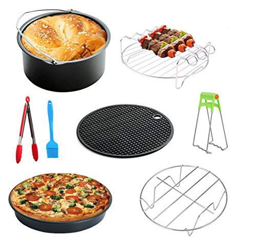 MySit 8 Inch XL Air Fryer Accessories 9pcs for Gowise Phillips and Cozyna Fit all 5.3QT-5.8QT