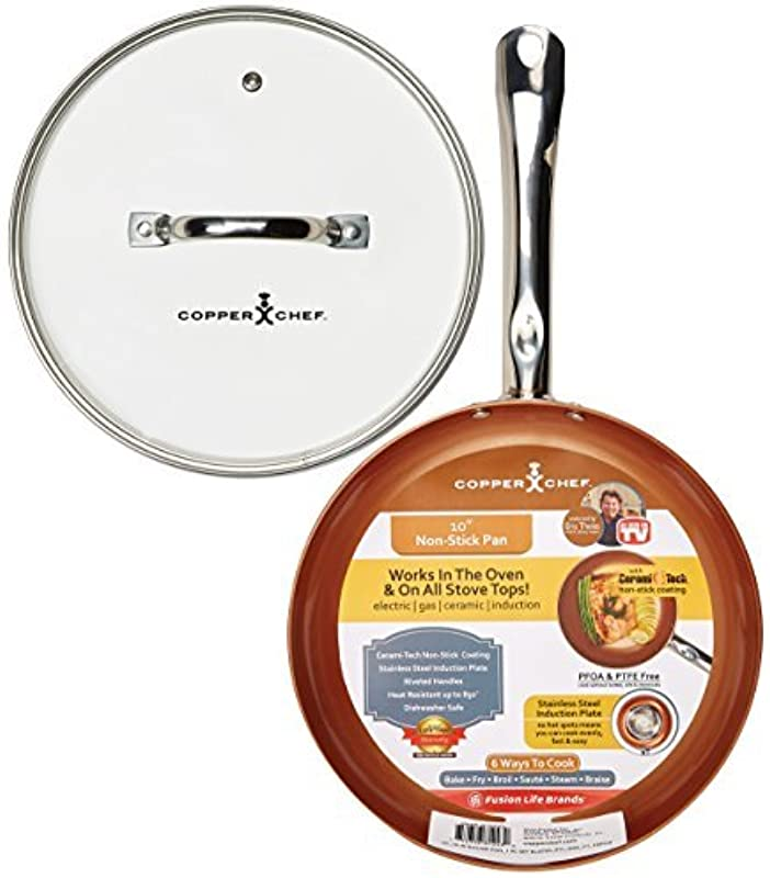 Copper Chef 10 Inch Round Frying Pan With Lid Skillet With Ceramic Non Stick Coating Perfect Cookware For Saute And Grill