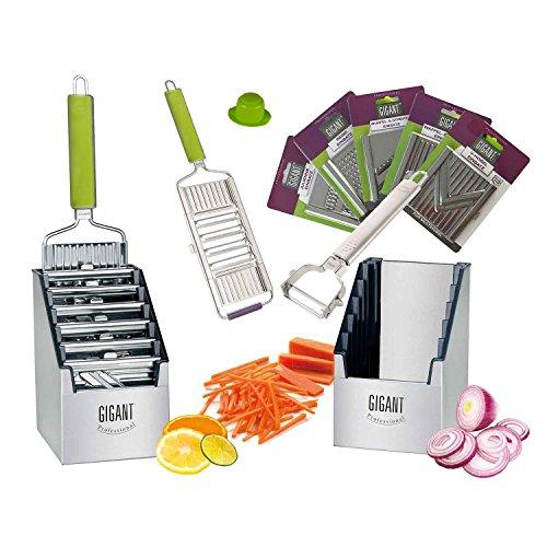 Muxel Gemüse-Hobel (Vierfachhobel) Mega-Set mit 5 zusätzlichen Einsätzen in der praktischen Multi-Box, grün
