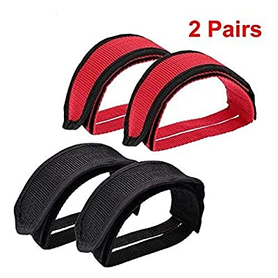 Pomeat Bike Pedal Straps, Bicycle Feet Strap Pedal Straps for Fixed Gear Bike, Black, Red, 2 Pairs